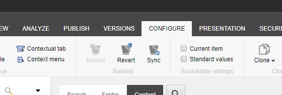 Bucket 'Revert' and 'Sync' options are available on the Configure tab.