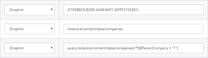 Various datasource options on a Sitecore template.