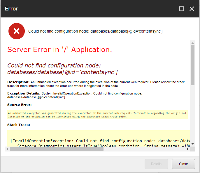 An exception while generating a Sitecore content package.
